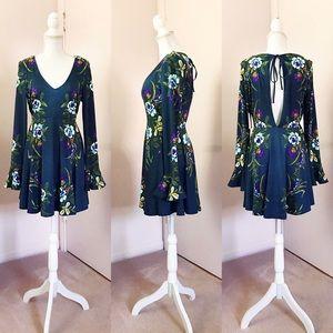 FREE PEOPLE Teal Floral Dress